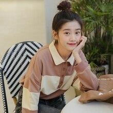 2019 Autumn New Womens Sweatershirt Korean Fashion Casual Harajuku Long Sleeve Loose Sweet Cute Stitching Contrast Sweatshirts