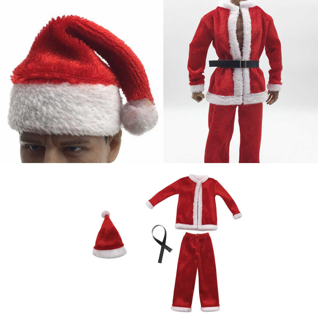 1:6 Scale Christmas Clothes Costume Set &Hat Santa Claus Cap for 12inch Action Figure Doll Toy Accessories