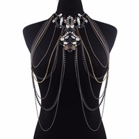 Lalynnly Fashion Big Rhinestone Body Necklace Chain Multilayer Chain Crystal Statement Necklace Pendant Women Jewelry N58021