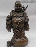 free 12China Buddhism Bronze Happy Laugh Buddha Ruyi money Bag Statue fast