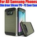 Cepillado delgado armor cubierta de silicona tpu + pc case para samsung galaxy s7 edge s6 edge plus s5 nota 5/4 N711