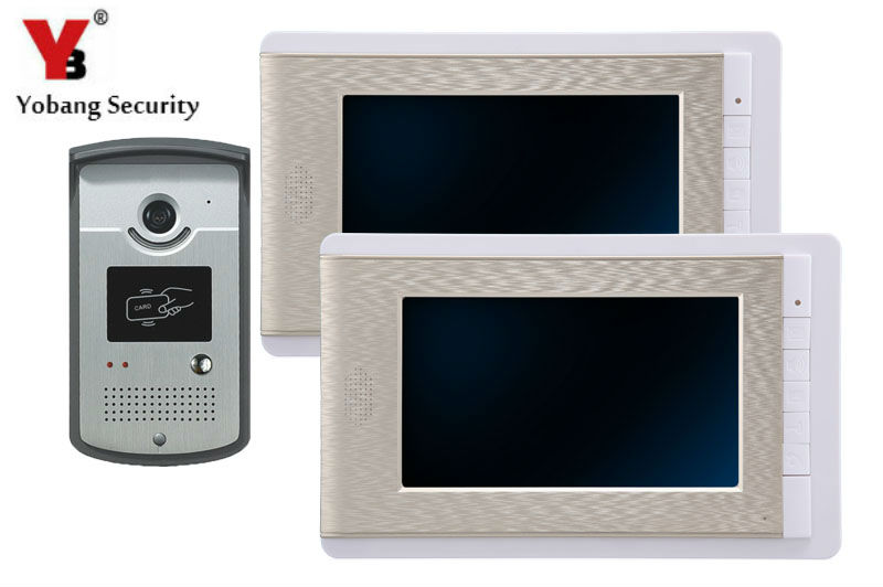 YobangSecurity Rainproof Video Door Phone Doorbell 7 Inch Home Entry Intercom System Kit 2 Monitors 1 Camera With RFID ID Keyfob yobangsecurity video door intercom entry system 2 4g 9 tft wireless video door phone doorbell home security 1 camera 2 monitor