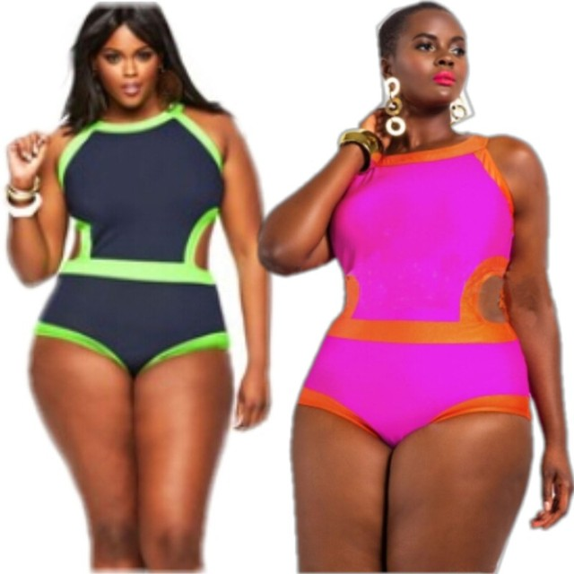 1d89042fe 2016 PLUS SIZE Women s Embonpoint Hollow Out Swimwear Padded High Neck plus  size Swimsuit Neon Color Bathing Suit XXXL 4XL