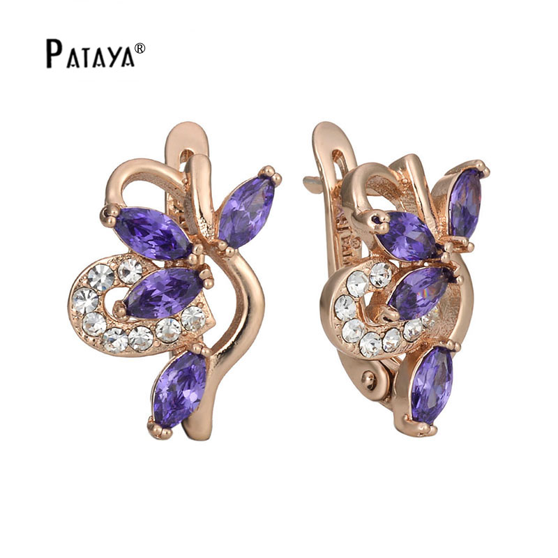 PATAYA Romantic White Drop Screw Earrings 585 Rose Gold Flower Design Purple Natural Zircon Women Jewelry Wedding Earring