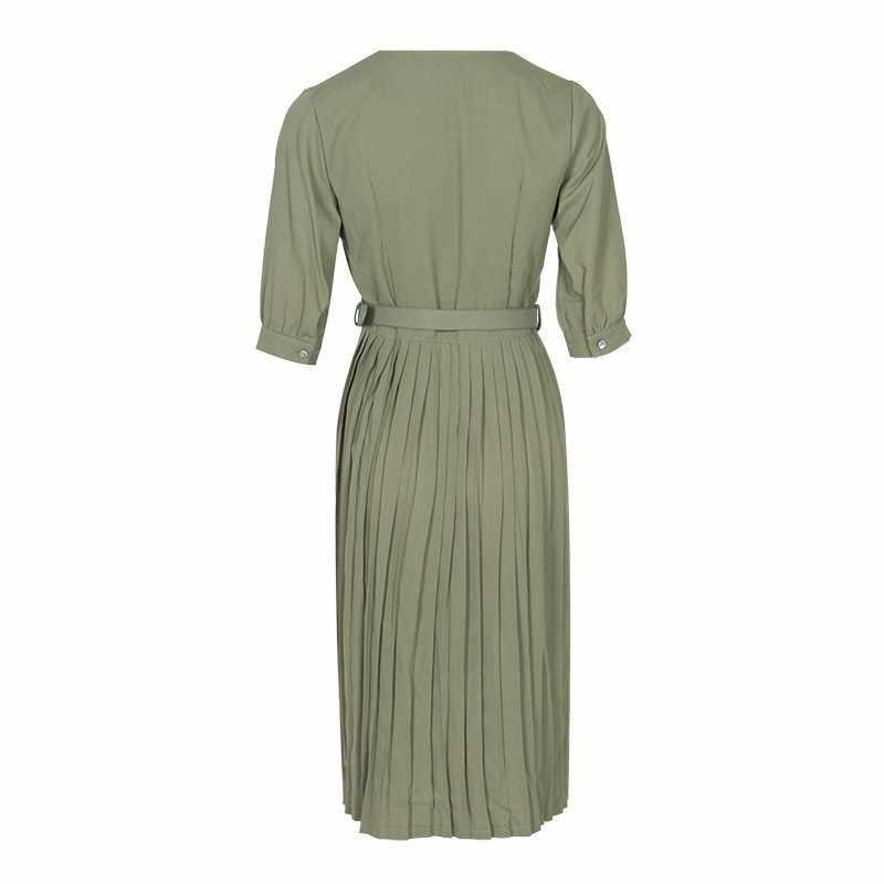 Женское плиссированное платье TWOTWINSTYLE, однотонное зеленое платье до колена с коротким рукавом и V-образным вырезом, на лето 2019 г.
