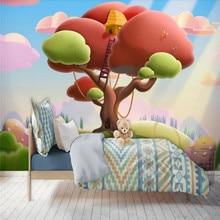 Custom wallpaper cute cartoon big tree background wall childrens room - decorative waterproof material