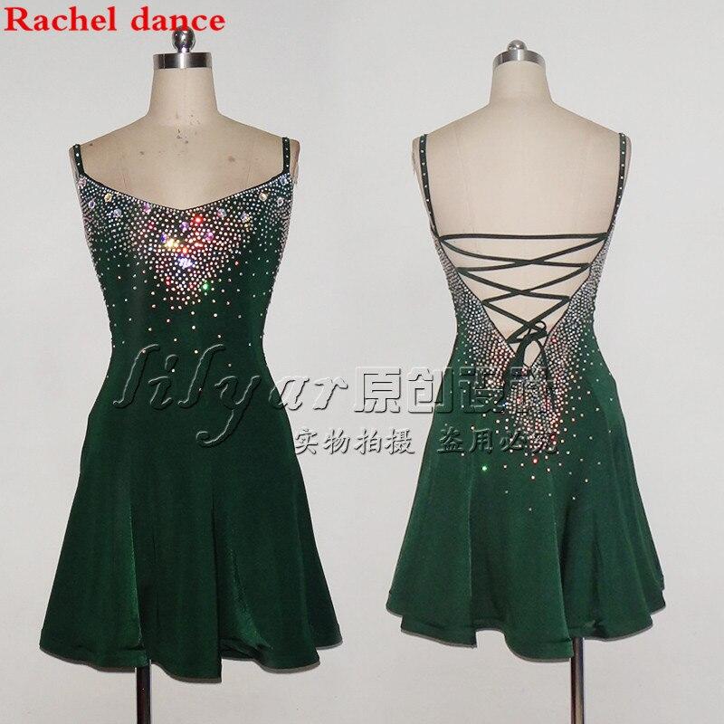 New Sexy Woman/Lady Latin Modern Dance Dress Green Sleeveless Latest Style Performance Wear Lady Latin Dance Skirt Female
