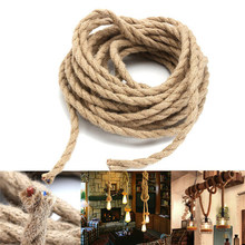 2x0.75mm 5/10M Vintage Hand Knitted Hemp Rope Wire Cable Antique Lamp Braided Fabric Light Cable Electric Wire Pendant Lamp Wire(China)