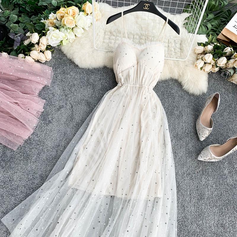 Sequins V-Neck Gauze Ruffles Mesh A-Line Dress 12