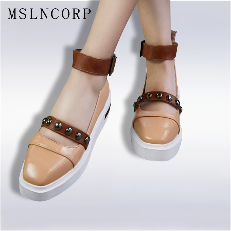 Plus Size 34-43 Fashion Women Platform Flats Ankle Strap Shoes Square Toe Leisure Metal Decoration Rivets Mary Jane Casual Shoes size 34 41 fashion shoes woman old beijing mary jane flats casual chinese style peony flower embroidered cloth canvas shoes