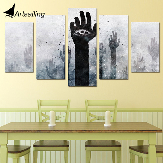 5 Piece Canvas Prints Wall Art Strange Eye Hands Rise Painting ...
