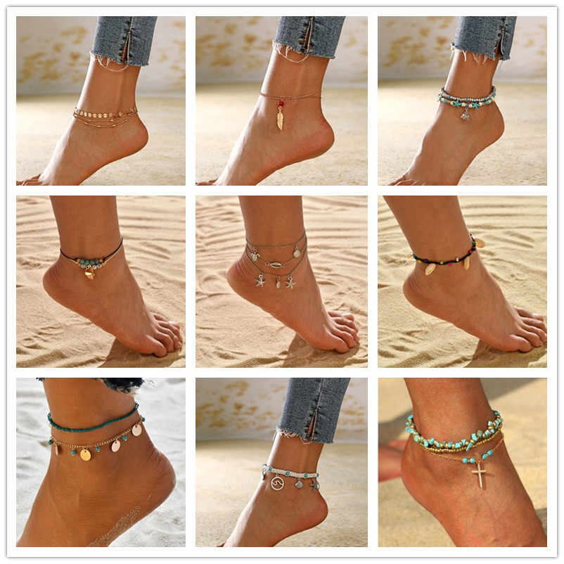 MESTILO 2019 Summer Beach Jewelry Gold Silver Chains Shell Conch Beads Chains Anklets Bracelets For Girls Wave Mermaid Anklets