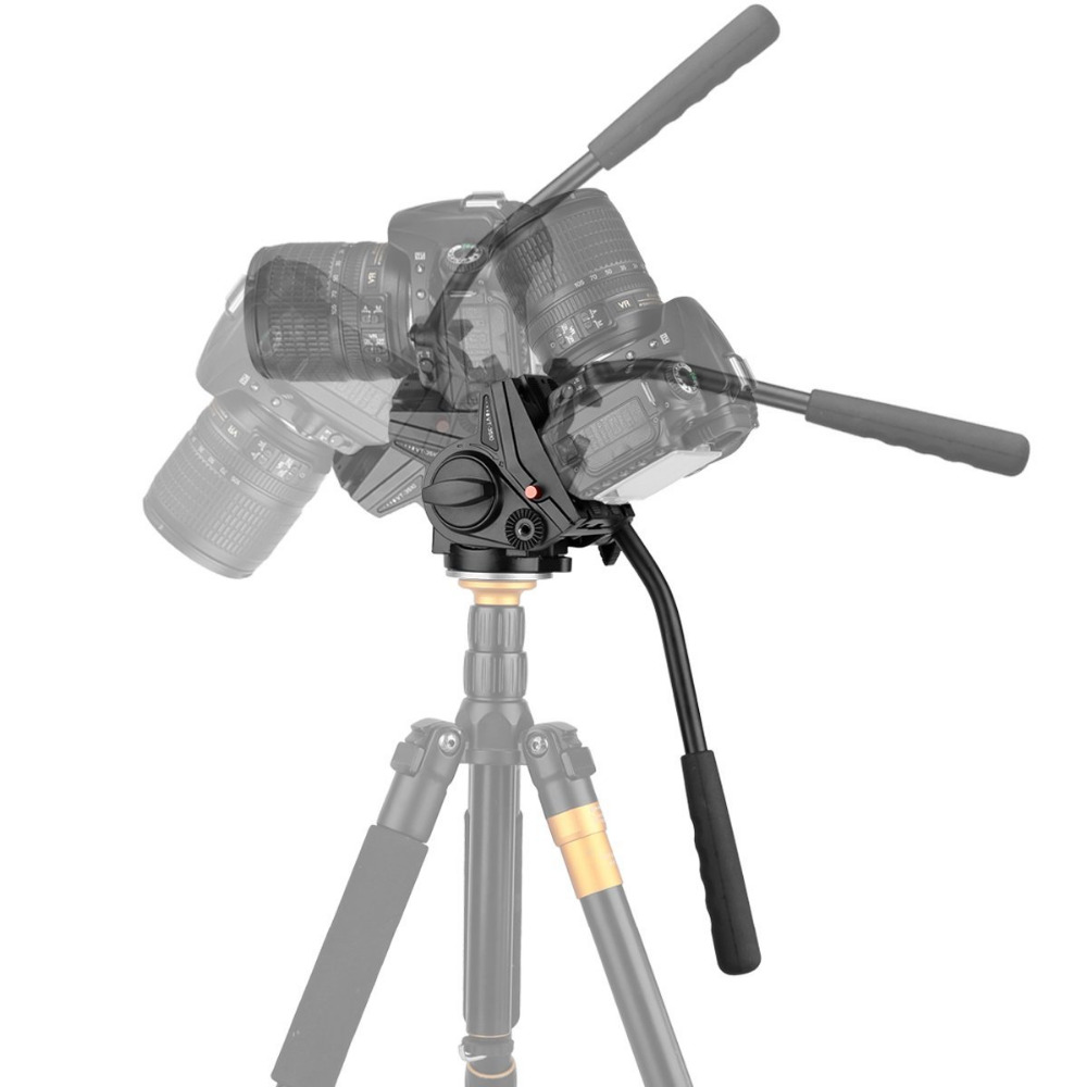 Heavy Duty Video Camera Tripod Action Fluid Drag Head with Sliding Plate for CN NK SY DSLR Cameras KINGJOY VT-3510