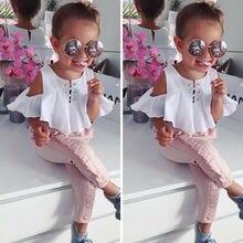 Детская одежда для маленьких девочек; топы с оборками; футболка; длинные штаны; Летняя Повседневная хлопковая одежда; комплект из 2 предметов