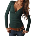 Moda outono mulheres v pescoço camisa t sólidos magro casual longos das senhoras da luva t top womens clothing lj4944m