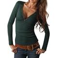 Otoño de la manera mujeres de cuello v camiseta sólido ocasional delgado de manga larga camiseta de las señoras top womens clothing lj4944m