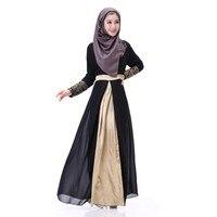 Women Elegan Muslim Embroidered Cuff Lace Dress Abaya Islamic Chiffon Maxi Dress New