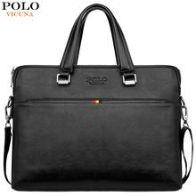 VICUNA POLO Simple Design Leisure Mens Leather Laptop Handbag Casual Business Man Briefcase Computer Shoulder Bags