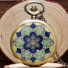 Зеленые нефритовые бронзовые винтажные карманные часы ожерелье