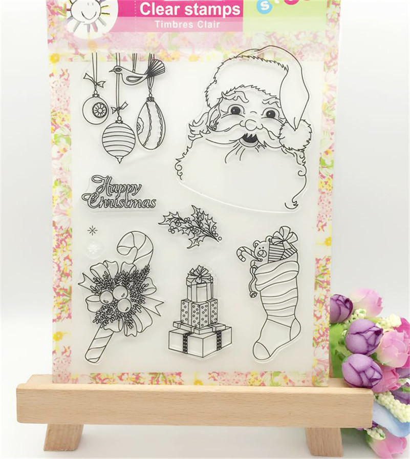 High quality scrapbooking DIY photo cards about  Father Christmas silicon stamps transparent stamp for Christmas gift CL-181 1box lot christmas gift christmas season organ folding christmas cards paper crafts scrapbooking cards gifts decoraiton