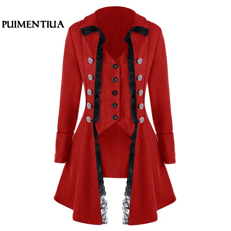 Puimentiua Women Vintage Lace Trim Long Jackets Medieval Steampunk Cosplay Autumn Winter Coat Female Gothic Plus Size Outwear steampunk trench coat womens