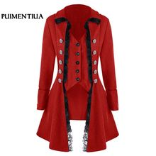 Puimentiua Women Vintage Lace Trim Long Jackets Medieval Steampunk Cosplay Autumn Winter Coat Female Gothic Plus Size Outwear
