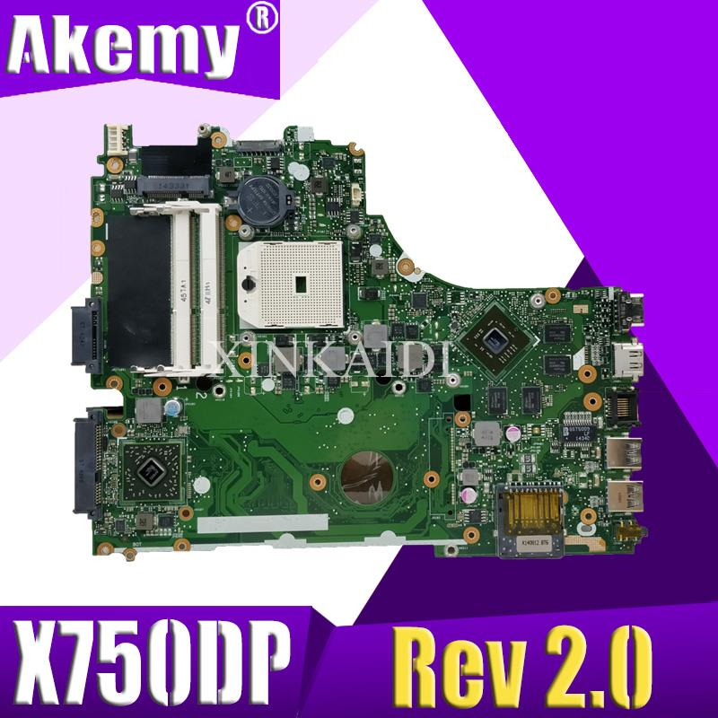 X550DP LVDS For ASUS X750DP K550D X550D X550DP Laptop Motherboard X750DP Rev2.0 Mainboard 100% Tested Working
