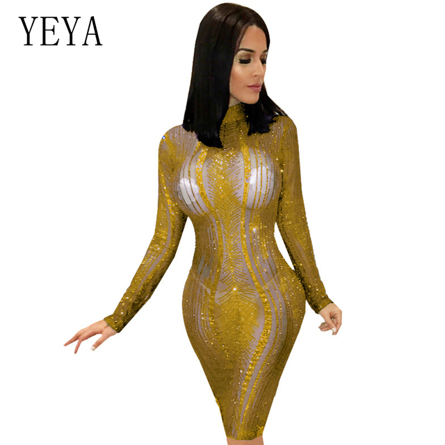 US $23.46 26% OFF|YEYA Plus Size Sparkle Gold Sequin Party Dress Autumn O  Neck Long Sleeve See Through Mesh Bodycon Club Party Pencil Dresses-in ...