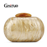 1ae801818 Fashion Pearlescent Marble Print Acrylic Bags Oval Women Evening Clutch Bag  Elegant Ladies Party Brides Wedding