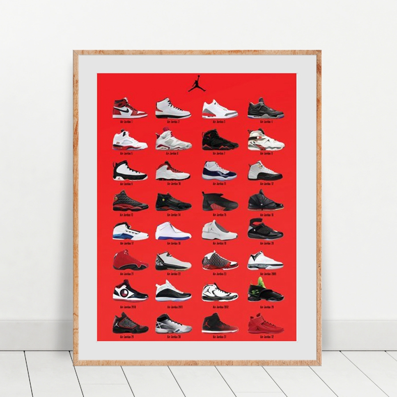 Air Cushion Jordan Canvas Art Prints And Poster Fashion Shoes Collection Illustration Painting Picture Boys Room Wall Art Decor