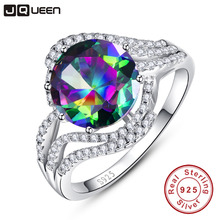 JQUEEN 925 Sterling Silver Ring Round Brilliant 5 Carats Rainbow Topaz Wedding Party Fashion Jewelry Accessories With Gift box