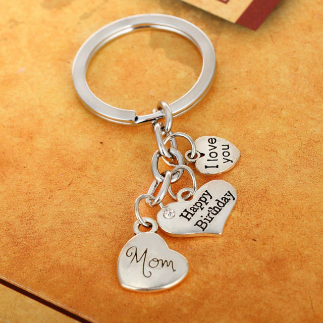 Love Heart Mom Dad Aunt Grandma Sister Keyring Happy Birthday Gifts Family Female Male Women Men
