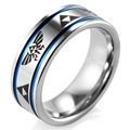 SHARDON 8mm Men's Blue Grooves Tungsten Carbide Ring comfort fit with lasered Zelda design Wedding Ring for Men