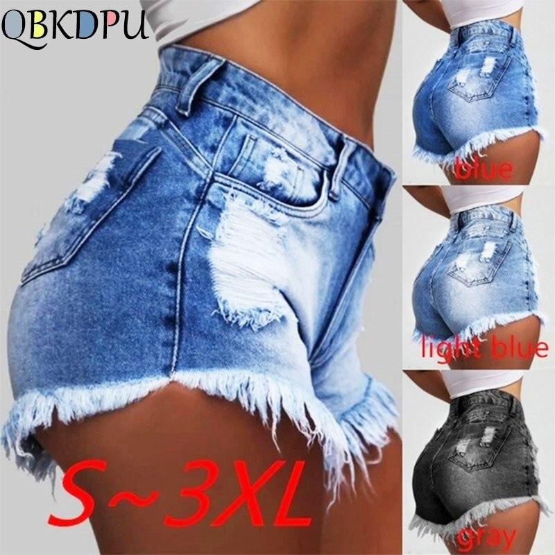 Shorts Jeans for Women Summer Fashion Ladies Sexy Mini Short Femme Plus size Tassel Hole Denim Shorts with High Waist Black Blue