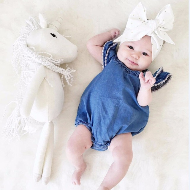Puseky 2018 new fashion 0 24m newborn baby girl romper fly sleeve denim clothes cute