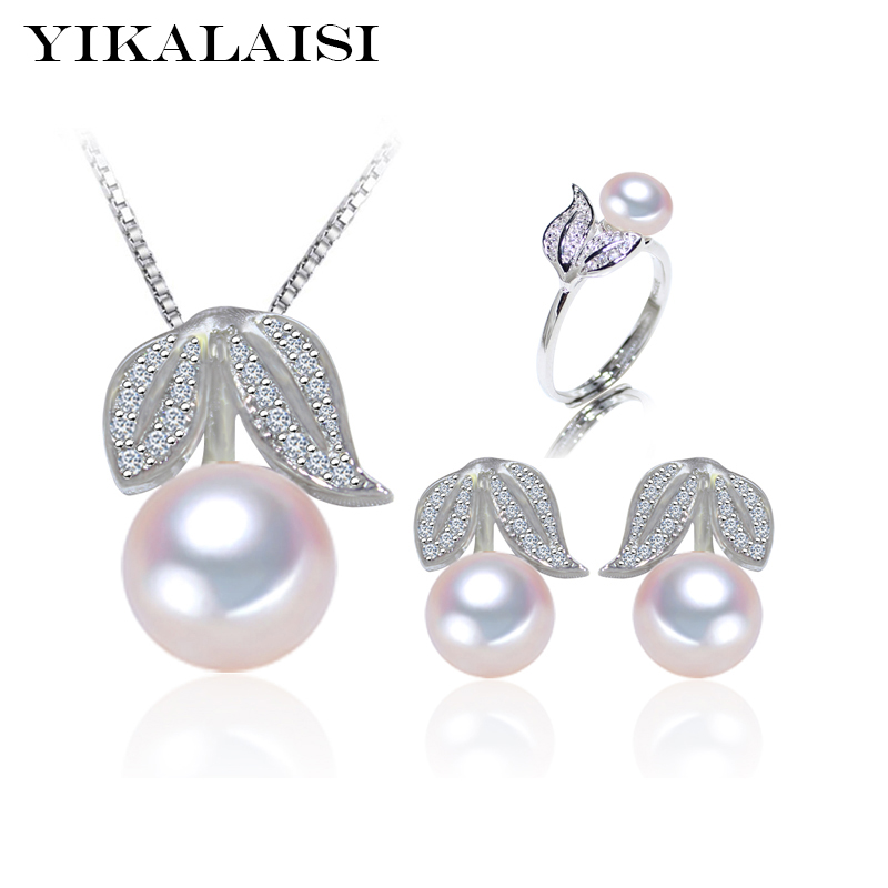 YIKALAISI 2017 100% natūralus gėlavandenių perlų rinkinys 925 Sterlingas sidabro papuošalų žiedas Stud Auskarai Pakabukas Moterims vestuvių dovanos