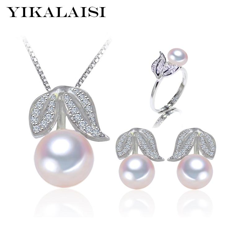 YIKALAISI 2017 100% mutiara air tawar alami set 925 Sterling perhiasan Perak cincin stud Earrings Pendant Untuk Wanita hadiah pernikahan