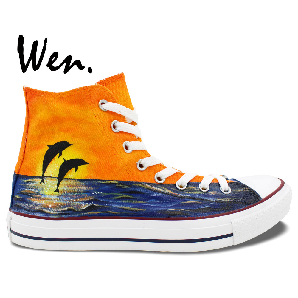ФОТО Wen Original Hand Painted Shoes Custom Design Sunset Dolphins Women Men's High Top Canvas Shoes Christmas Gifts