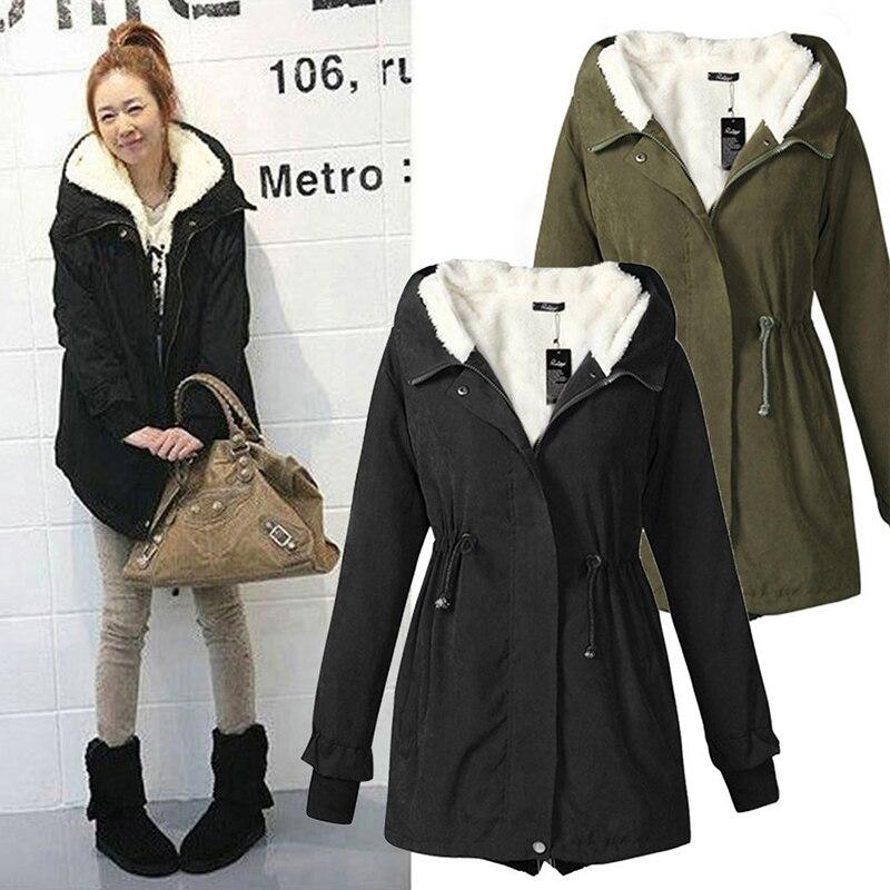 Winter Coats & Jackets Women   Parkas   Hooded Thick Cotton Warm Coat Plus Size Female Fleece Liner Outwear Wadded Jacket DWT5120