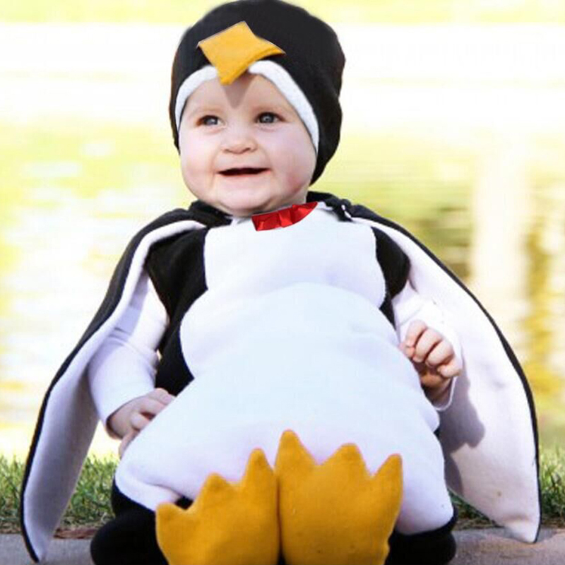 2019 New Creative Baby Boy Girls Carnival Halloween Costume   Romper   Kids Clothes Set Toddler Cosplay Penguin Jumpsuits