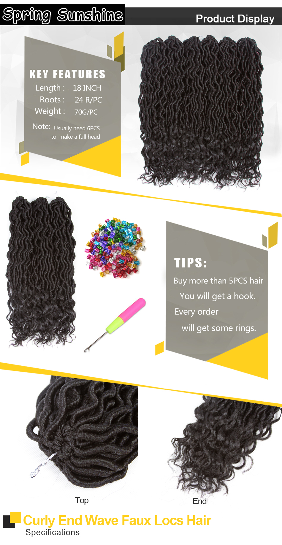 ᐅPrimavera Sol 18 24 soportes Faux LOCs Curly crochet cabello ...