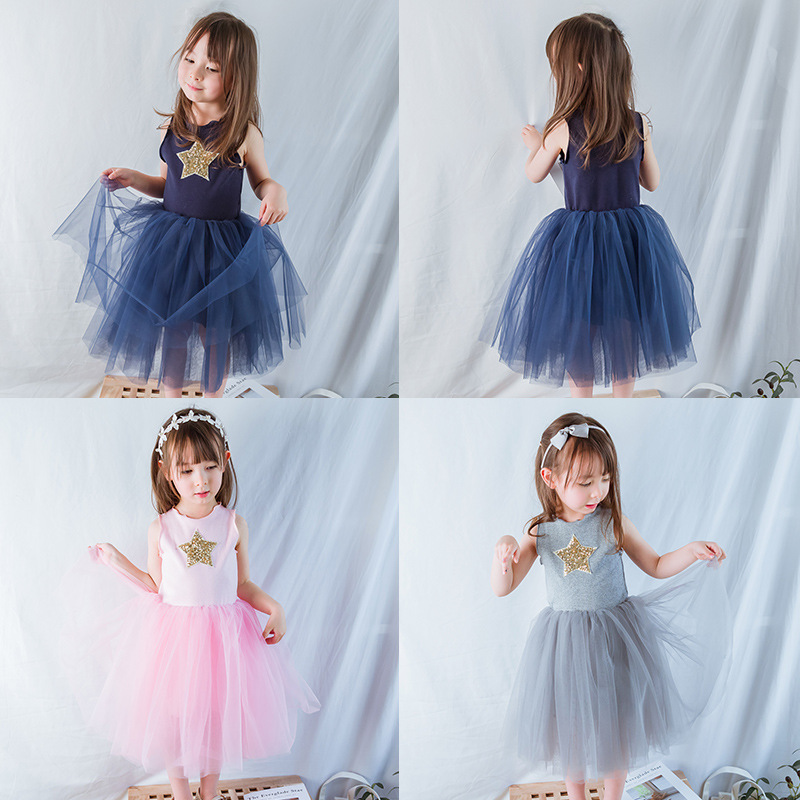INS Explosions Children's Wear Gauze Girls Dress Star Vest Princess Dress Girls Christmas Halloween Costume Toddler Dresses