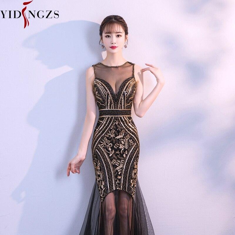 59eb376a1 YIDINGZS nuevo las mujeres Halter elegante lentejuelas vestido de baile de  graduación frente corto espalda larga