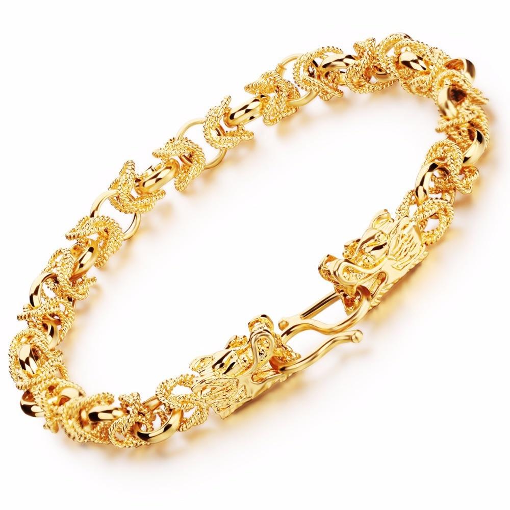 Fashion Gold Color Bracelet Charm Bracelet Jewelry Men Bracelets Bangles  Dragon Gold Color Bracelet Necklace Set