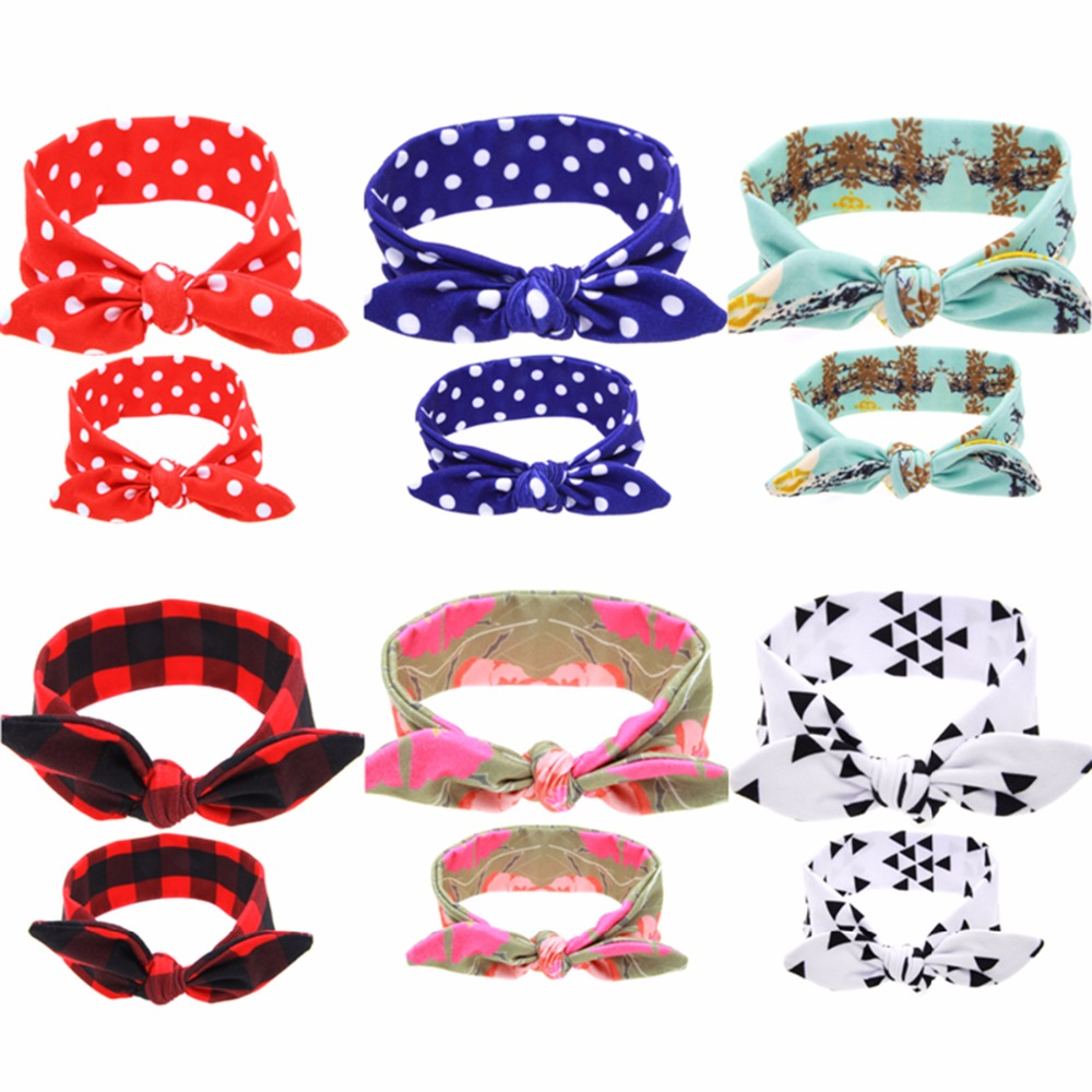 Puseky 2Pc/Set Mother & Girl Rabbit Ears Headband Plaid Bow Hairband Turban Knot Headwrap Mom Baby Hair Band Accessories