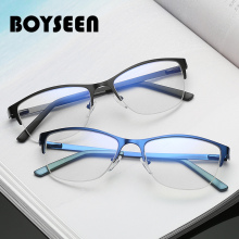 BOYSEEN Metal Eyeglasses Frame Fashion Half Rim Computer Clear Prescription Myopia Optical