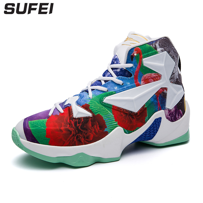 Sufei Men Basketball Shoes Cool Flower Outdoor Athletic Cushioning Sneakers High Ankle Sport Boots Trainers somix newest men s basketball shoes 2017 ankle boots anti slip outdoor sport sneakers for men plus size euro 39 48 free shipping