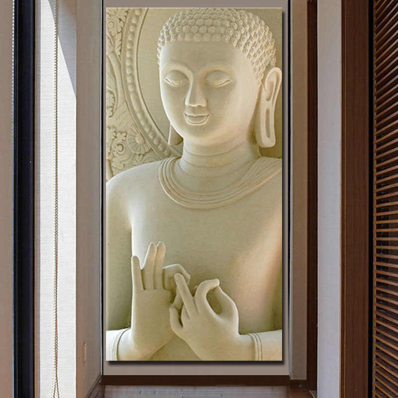 Buddha Painting Printed On Canvas Vertical Rectangle White Marble Buddha Canvas Wall Art Picture for Entrance Hallway Decorative