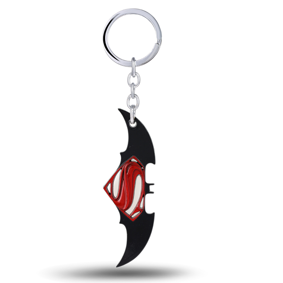 Hot Selling New Styles Cartoon Superman & batman keychain superhero key chains key holder for cars Fans Souvenirs