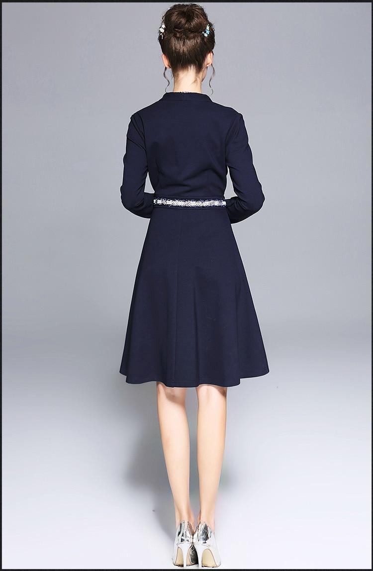 2017 Plus Hiver V L ligne Élégante La Partie Cultiver A Robe Tunique Cou Perlée Femmes xxxxxl Pincé Taille Bleu rrq4R